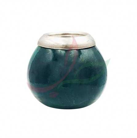 Calabash (mate pot) traditional with eyelet - green