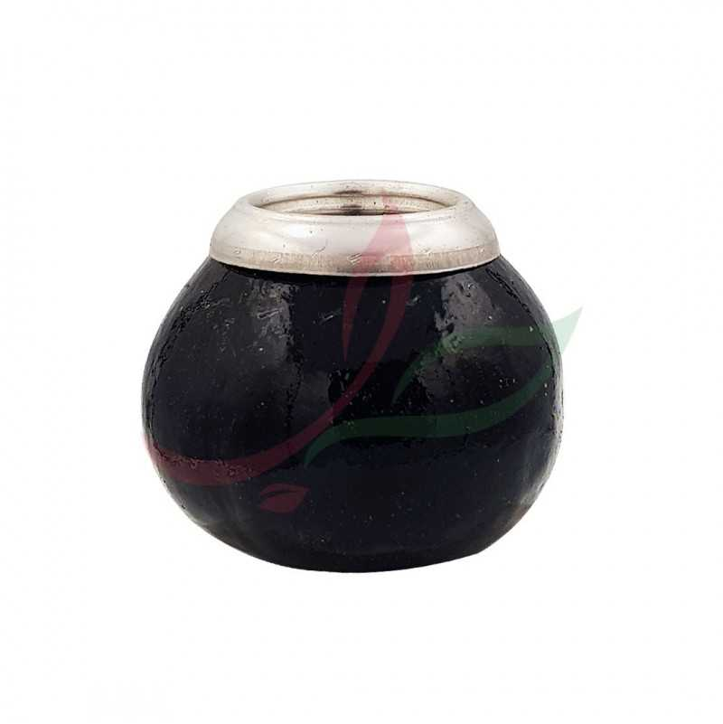 Calabash (mate pot) traditional with eyelet - black