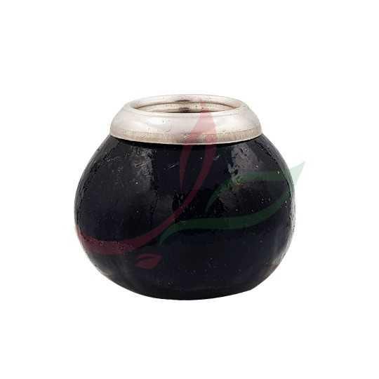 Calebasse (pot à maté ) traditionnelle avec anneau - noir