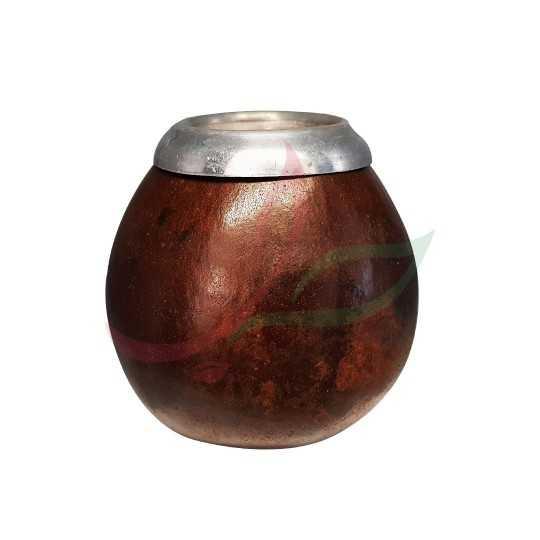 Calebasse (pot à maté ) traditionnelle avec anneau - marron