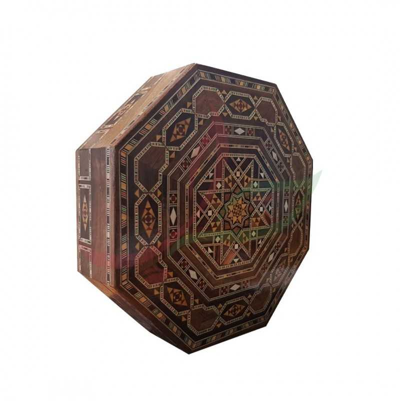 Octagonal box in pearly Syrian mosaic - large