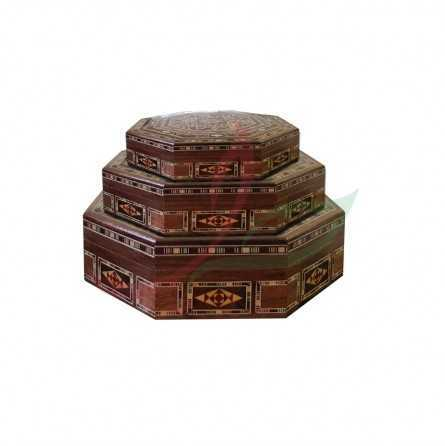 Set of 3 octagonal boxes in pearly Syrian mosaic