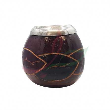 Calabash (mate pot) traditional decorated with eyelet - brown