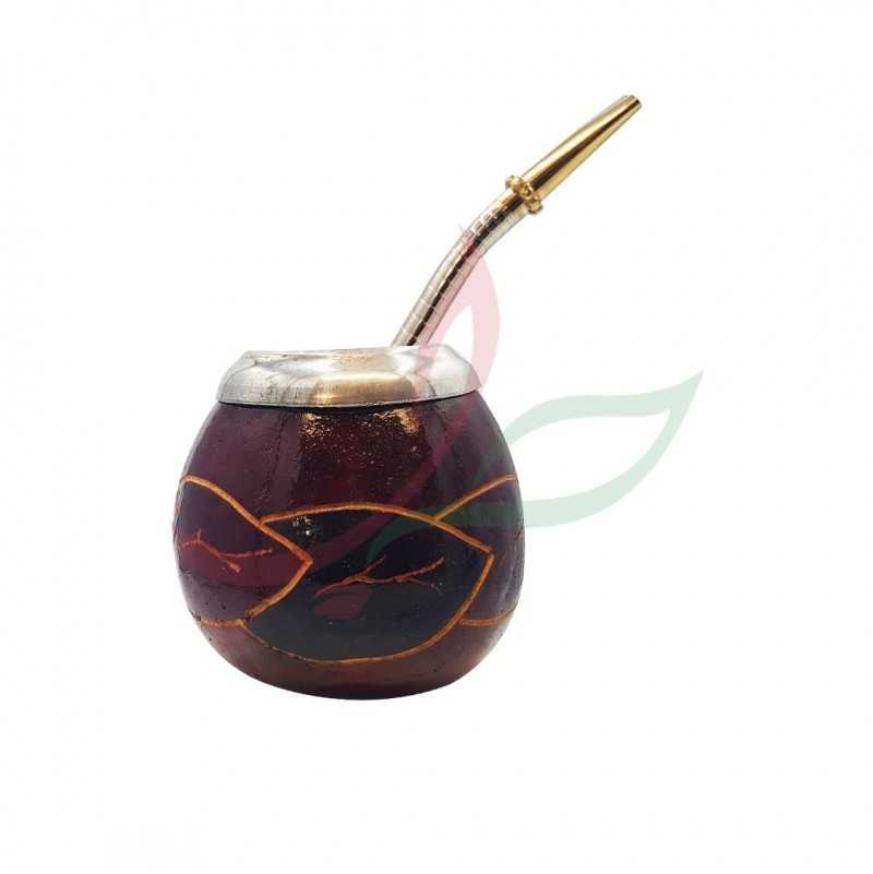 Calabash traditional (brown) decorated with eyelet + bombilla