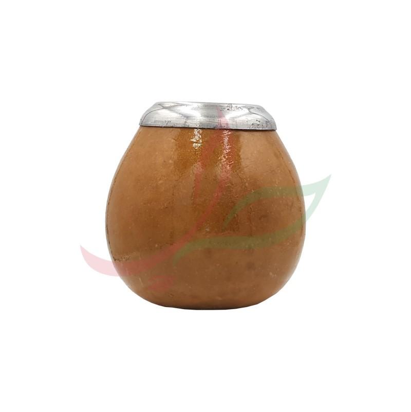 Calebasse (pot à maté ) traditionnelle avec anneau - marron clair