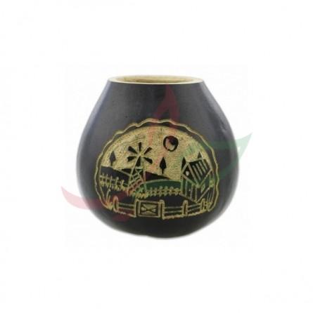 Calebasse traditionnelle sculptée - noir