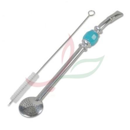 Bombilla (paille à maté) filtre rond avec brosse 21cm
