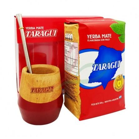 Kit : bombilla + calebasse + yerba maté Taragui 500g